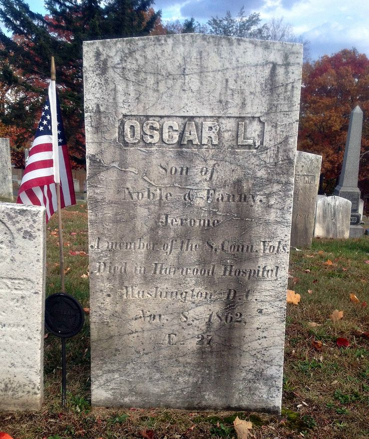 A 27-year-old private in the 8th Connecticut, Oscar L. Jerome is buried in  Military Asylum Cemetery in Washington, D.C. The cenotaph shown here is in  West ...