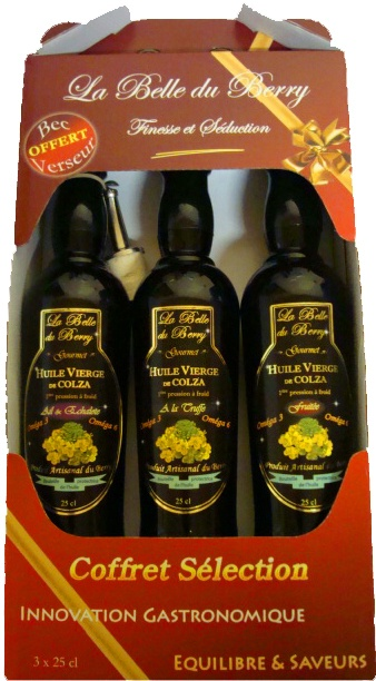 La belle du Berry - Huiles artisanales haut de gamme.  Coffret Sélection Gourmet : 1 huile de colza - ail & échalote, 1 huile de colza à la Truffe, 1 huile de colza fruitée