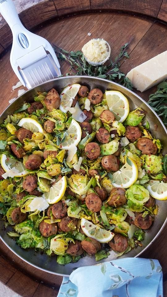 Quick Italian Sausage and Shaved Brussel Sprouts One-Skillet Dinner!