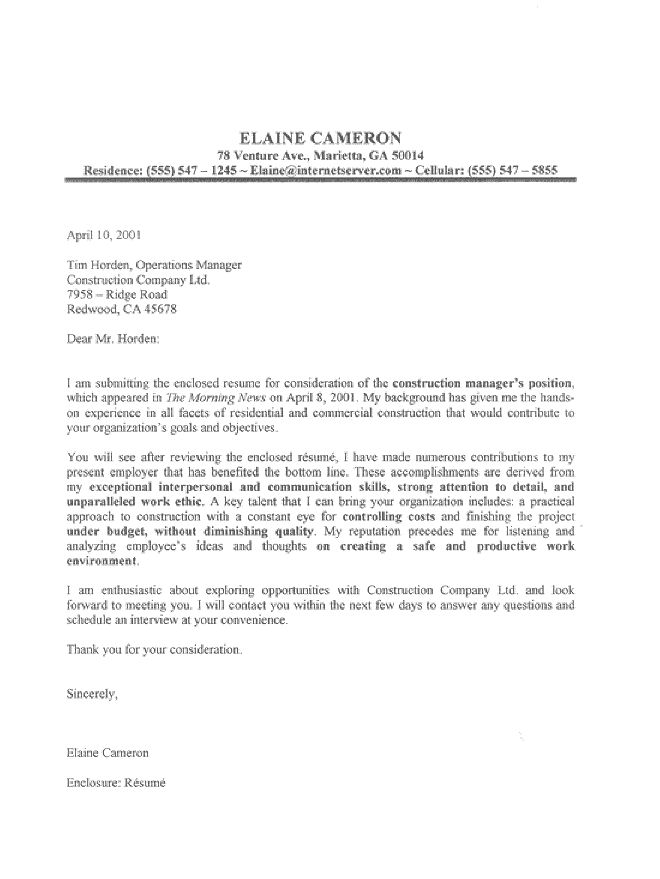Job Resume Cover Letter Example - Examples Of Resumes