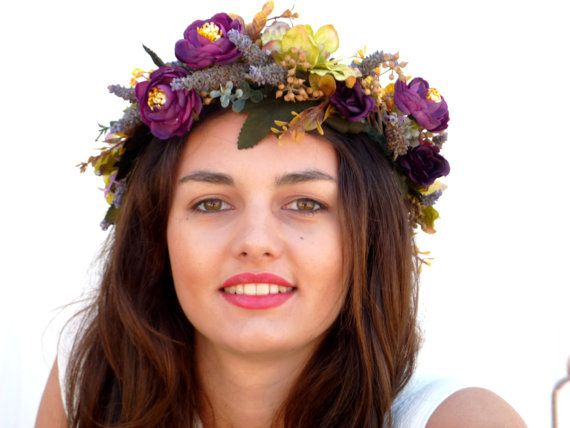 Flower Crown Purple headpiece by BlackSwanFeather on Etsy