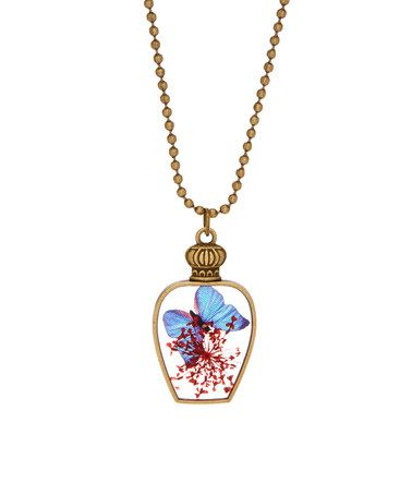 Look at this #zulilyfind! Blue Butterfly & Pressed Flowers Pendant Necklace #zulilyfinds