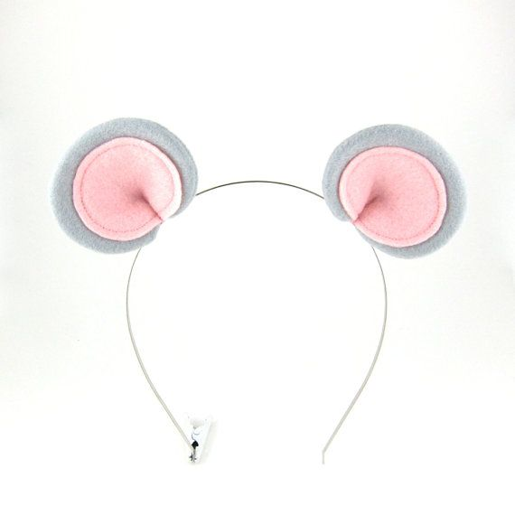 Grey Mouse Ears Hair Clips Costume Ear Clips by Snowbella on Etsy