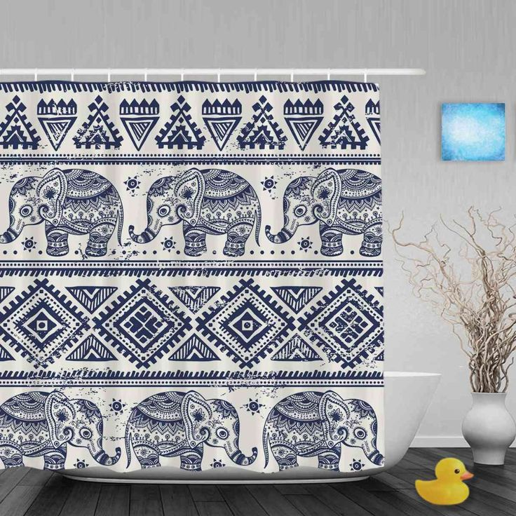 Morden Pattern African Designed Elephant Shower Cutains Animal Decor Bathroom Curtains Polyester Waterproof Fabric With Hooks