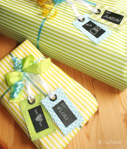 Geschenkeanhänger aus Stoff und Tafelfolie selber machen by Kullaloo