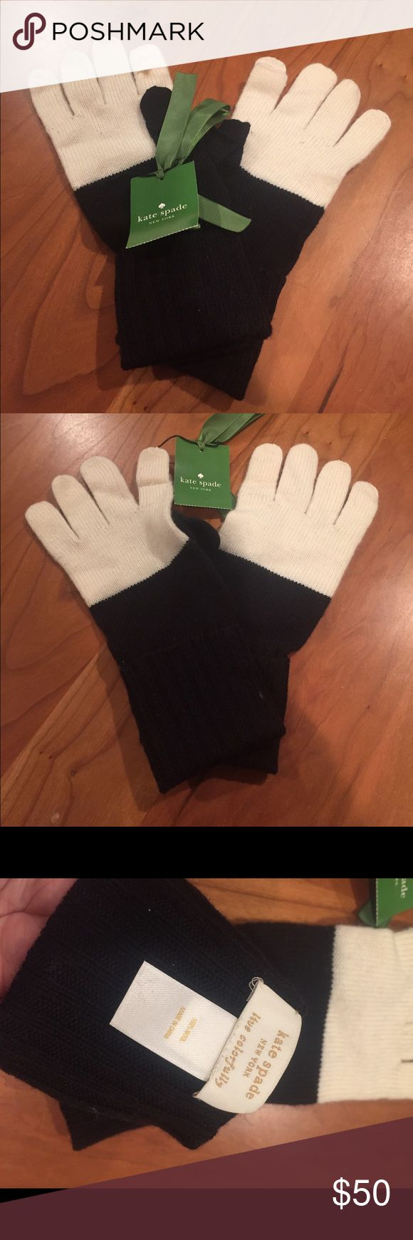 Kate Spade pop top gloves These black and cream gloves are new and never worn. Index finger and thumbs tips have ability to pop off for use with smartphones. 100% wool. kate spade Accessories Gloves & Mittens