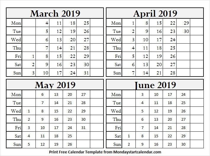 March To June 2019 Calendar Printable With Images June 2019
