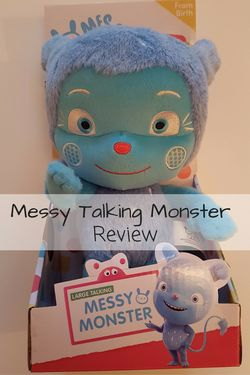 Messy Talking Monster - a review of this fab soft toy from Messy Goes to Okido, suitable from birth and perfect for toddlers and preschoolers. A wonder Christmas or Birthday gift!