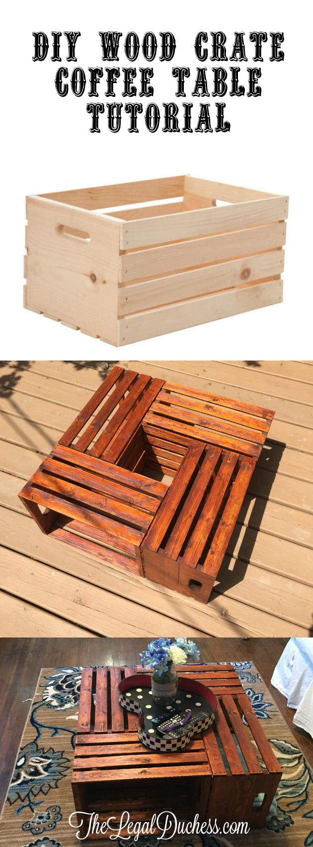 A simple and budget friendly DIY project for a Wood Crate Coffee Table.   Get this for under $32.00 and in just 3 hours!!!