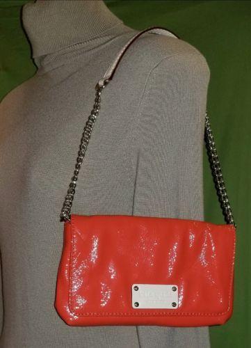 Kate Spade Bright Orange Patent Leather Handbag Gold Chain Shoulder Strap