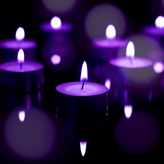 When you see a purple candle lit is because Heaven gained another Chiari Angel... Purple Candles | Purple Candle Bokeh | Flickr - Photo Sharing!