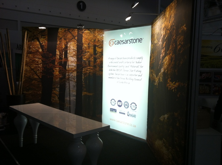 The Ceaserstone Stand was simply installed and made impactful by the corner light panel - which is another feature of the peazy system.