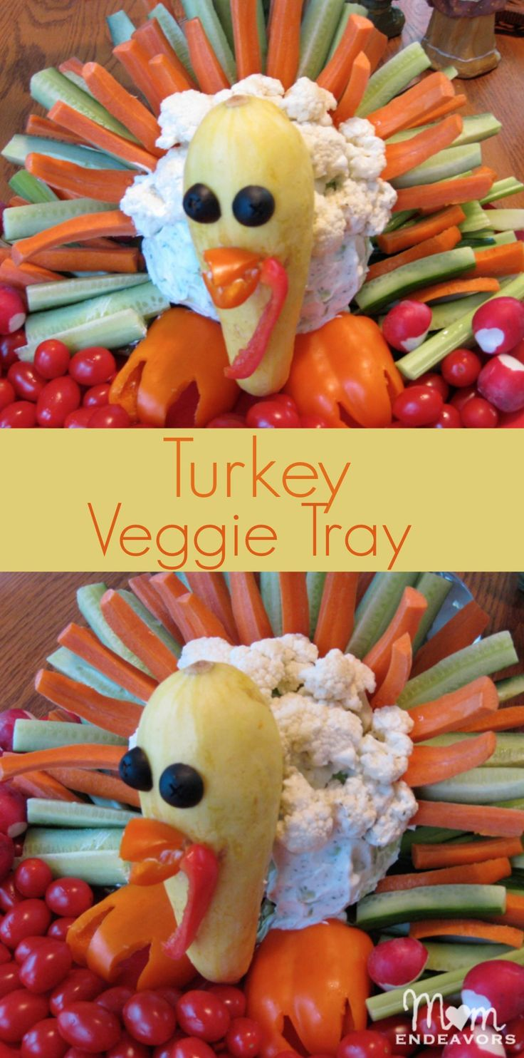 Directions for putting together a fun Turkey veggie tray for Thanksgiving via momendeavors.com