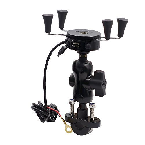 """Hoyoki Motorcycle Phone Mount Holder with USB Charging Port Waterproof Handlebar Mirror Base X-Grip for Mobile Phone GPS (Black)  Compatible with 3.5""""-6"""" Screen (or 1.5- 3.3 Inch Width) Devices, applicable for most mobile phone  Made of aluminum alloy and staniless steel; anti-slip rubber feet firmly hold your phone or devices  Fit 9V-30V motorcycle,electric bicycle,scooter, ATV, car, etc. Auto power off when the charging voltage exceed 30V to guarantee safety  Equip with a 5V 2A USB C..."""