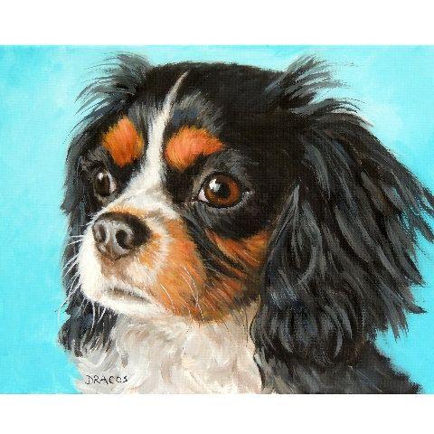 ORIGINEEL ACRYL SCHILDERIJ PORTRET VAN EEN CAVALIER KING CHARLES SPANIEL, Tricolored Cav, KCS, op GESPANNEN doek 11 x 14 x 3/4 hond kunst schilderij originele door DOTTIE DRACOS  SALE! Nu $150, was $200.  Dit is een originele Acryl schilderij van een prachtige tri-gekleurde Cavalier King Charles Spaniel, ook bekend als een Cav of een KCS, op een licht blauwe achtergrond. Het heeft op een 11 x 14 x 3/4 uitgerekt doek, met de zijden dezelfde kleur als de achtergrond geschilderd. (geen...