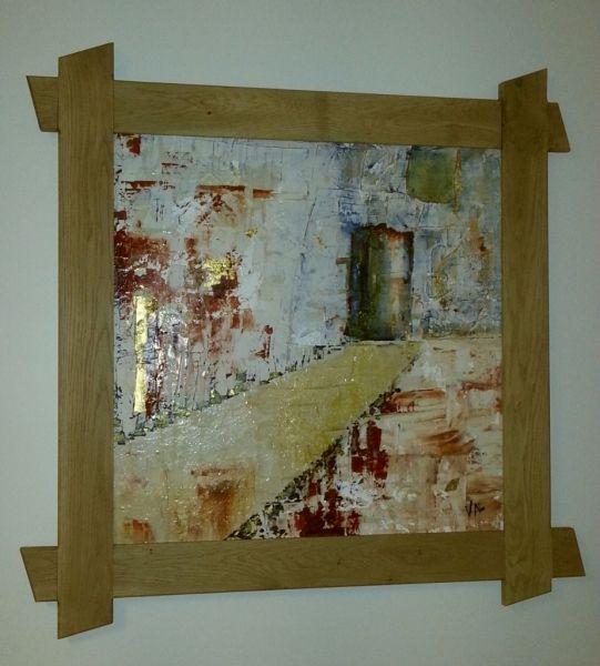 Cadre pour tableau par Gwain13 - J'ai créé ce cadre en chêne pour mettre en valeur la peinture de ma femme. Je me suis largement inspiré du cadre de Zeloko. J'ai fait une feuillure de 5mm à l'intérieur du cadre pour bien soutenir la...