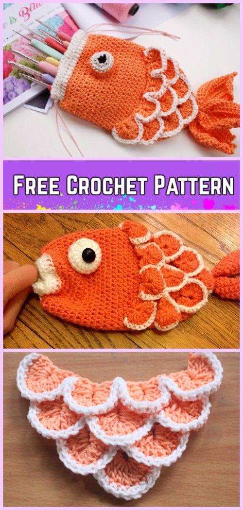 Crochet Fish Bag Free Patterns - DIY drawstring fish pouch Crochet Free Pattern Video Tutorial