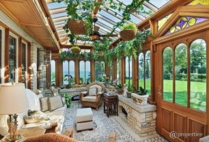 Craftsman Porch with Glass panel door, Stained glass window, Arched window, Screened porch, exterior stone floors, Skylight
