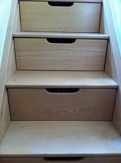 Home Organisation: Stairs doubling as drawers.  If we ever live in a house with stairs, then this idea coupled with this: https://www.deriba.co.uk/DeribaWebsite/understairs/understairs-1.html is surely a must!
