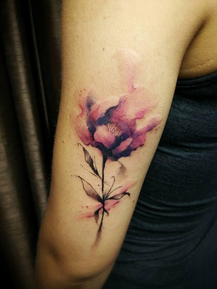 Chronic Ink Tattoo - Toronto Tattoo  Watercolour flower tattoo done by David.
