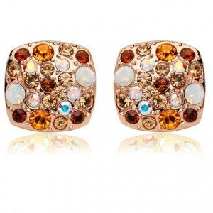 Colorful Austrian Crystal Square Stud Earring Gold Plated