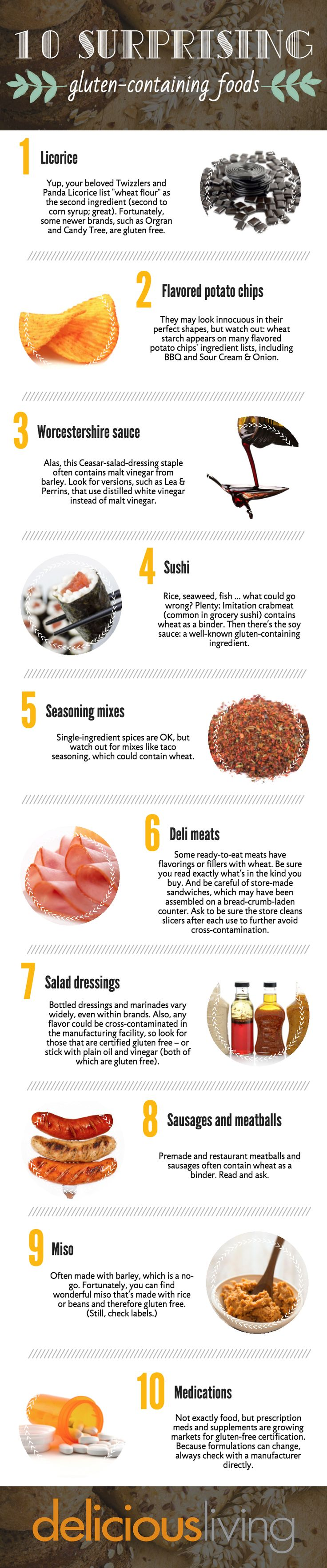 10 surprising gluten-containing foods | Gluten Free content from Delicious Living #gftips