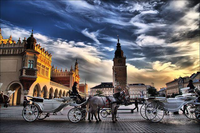 Ride in a horse drawn carriage..Kraków, Poland.