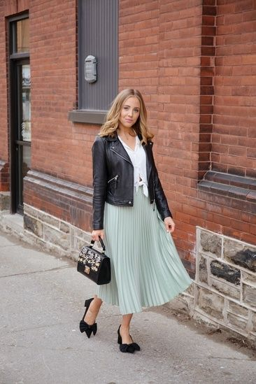 Feminine yet edgy look for spring/summer.  Absolutely loving this sage green skirt from H&M!  It's the perfect spring hue. # #ShopStyle #shopthelook #SpringStyle #MyShopStyle #SummerStyle #OOTD