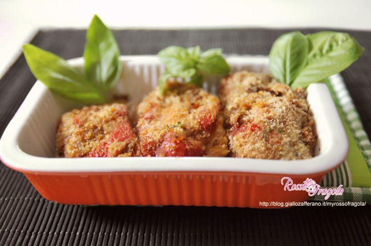 involtini di peperoni rossi al prosciutto--