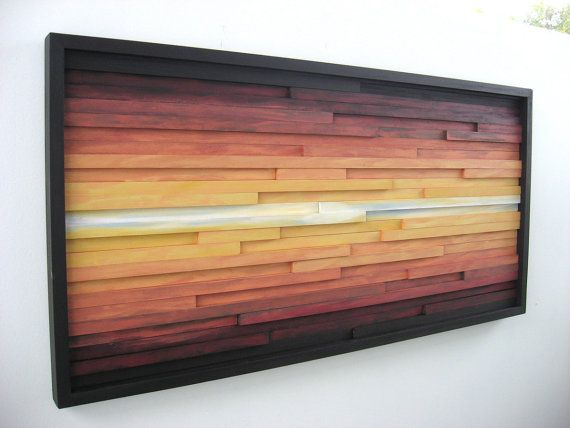 Abstract Landscape Painting on Wood Wood Wall door ModernRusticArt