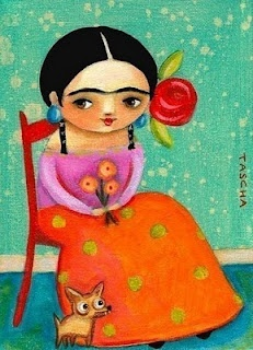 Mexican Folk Art. Oooh, have them paint their own versions of Frida (maybe with her monkeys :) ).