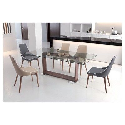 Modern 79 Rectangular Tempered Glass And Polished Stainless Steel Dining  Table   Walnut (Brown) Part 82