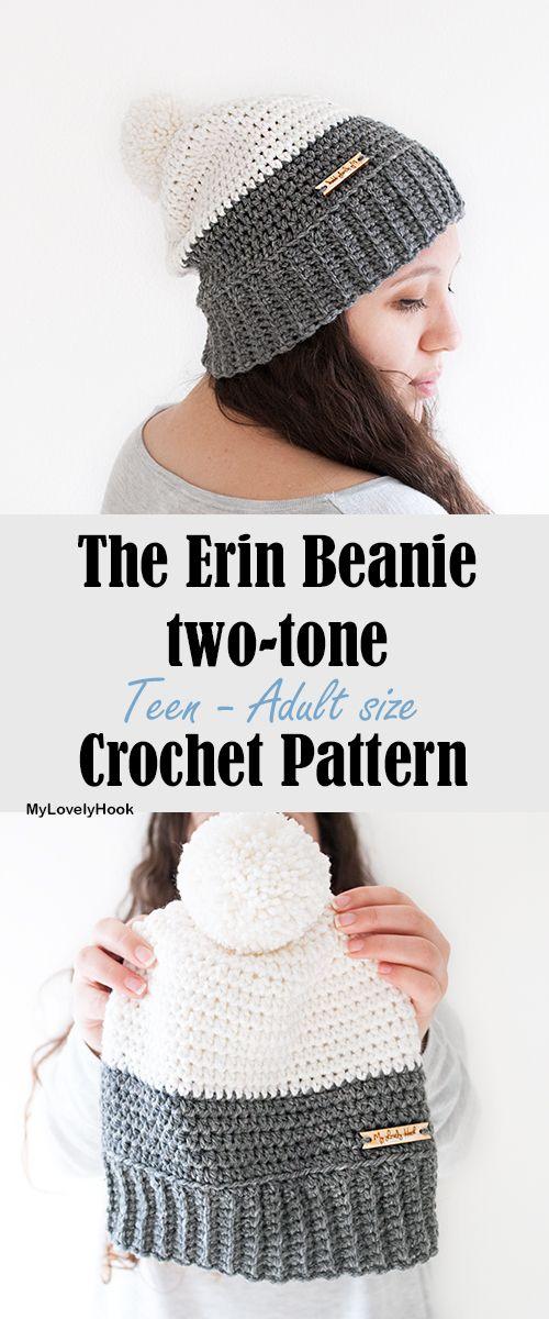Two-tone Erin Beanie crochet pattern | Slouchy beanie crochet pattern MyLovelyHook