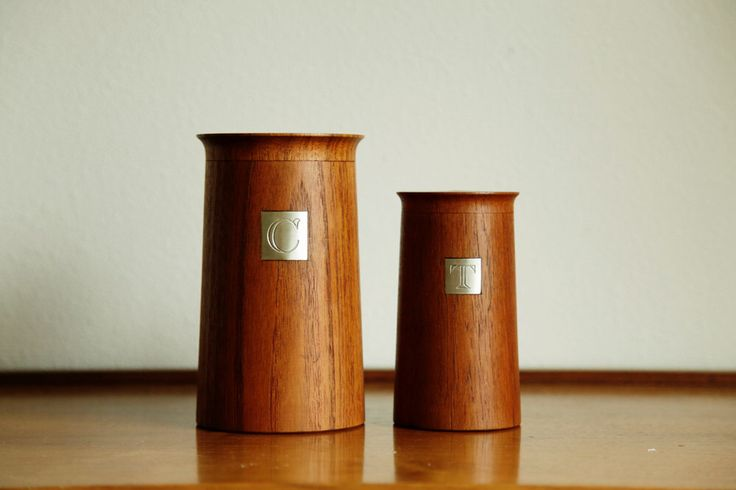 Danish Teak Coffee and Tea Containers / Jars - by Ole Hansen for P. Broste Denmark by MicroscopeTelescope on Etsy https://www.etsy.com/listing/214905185/danish-teak-coffee-and-tea-containers