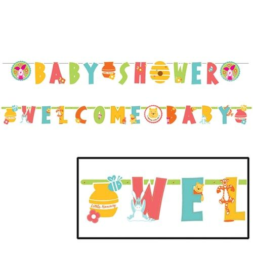 Welcome your guests to a sweet baby�s shower when you hang these colorful banners!  Our Pooh Little Hunny Illustrated Letter Banner Combo Pack contains 1 large letter banner with the words �WELCOME BABY