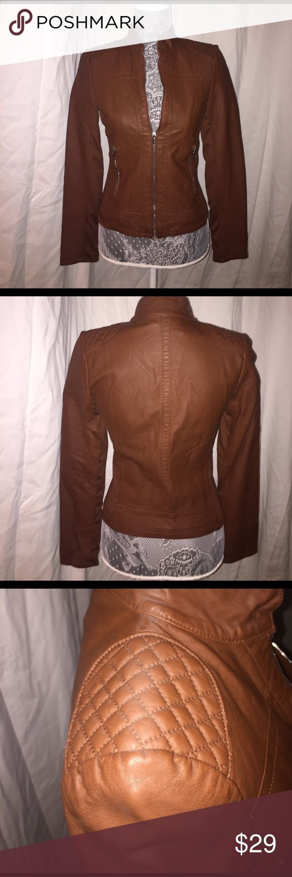 Brown Faux Leather Jacket Brown Faux Leather Jacket. Express Jackets & Coats