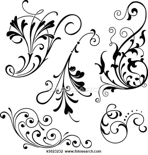Drawing Lines With Svg : Filigree illustrations and clipart
