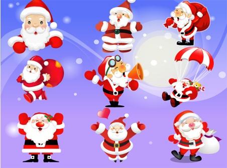 9 Santa Claus Set Vector