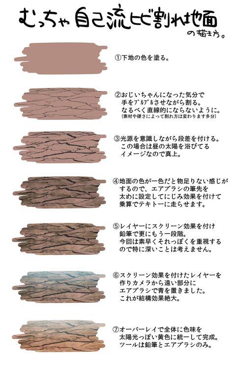 「SAIでお手軽ひび割れ地面の描き方」/「尾谷」のイラスト [pixiv]