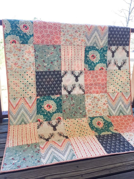 Handmade Quilt, Patchwork Quilt, YOU CHOOSE SIZE, Sweet Deer fabrics, teal peach and gray, king queen full twin throw