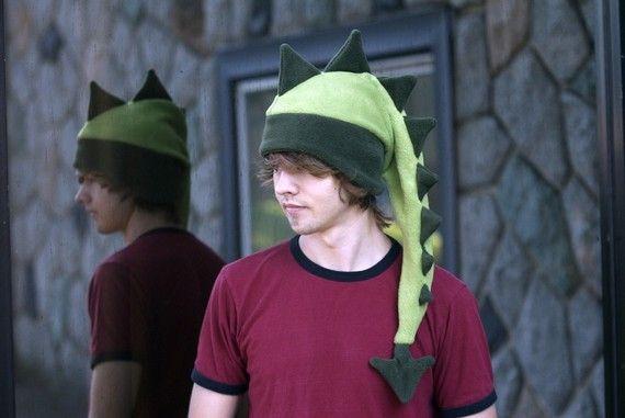Dragon Fleece Hat  Light / Dark Green Dinosaur by ningenheadwear