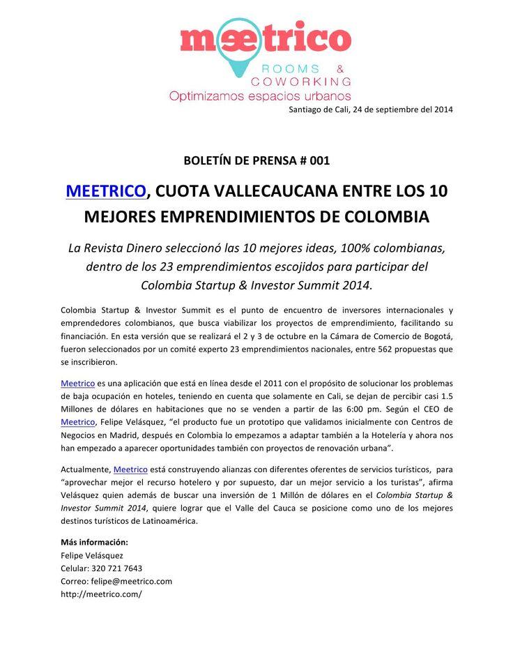 Boletin de prensa # 1 meetrico  Emprendimiento del Valle del Cauca que participara este 2 y 3 de octubre del 2014 en el Colombia Startup & Investor Summit.