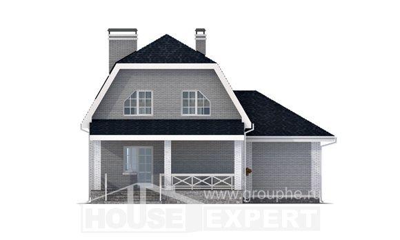 160-006-Л Проект двухэтажного дома с мансардным этажом, гараж, скромный дом из бризолита