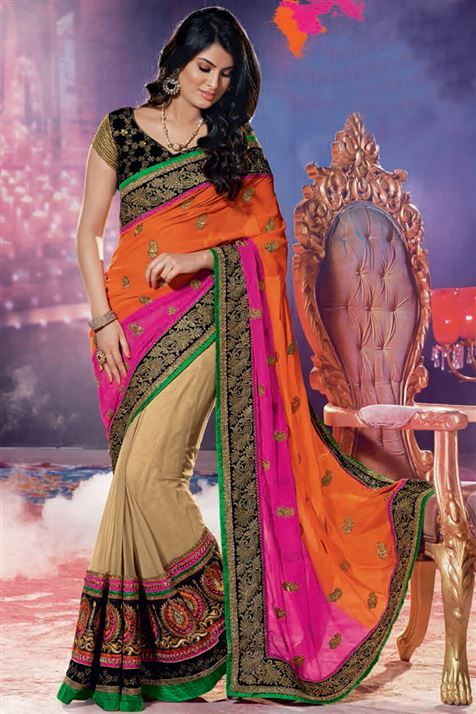 Designer party wear georgette saree with blouse