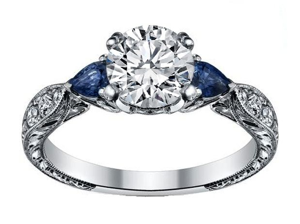Diamond Engagement Ring Blue Sapphire Pear Side Stones