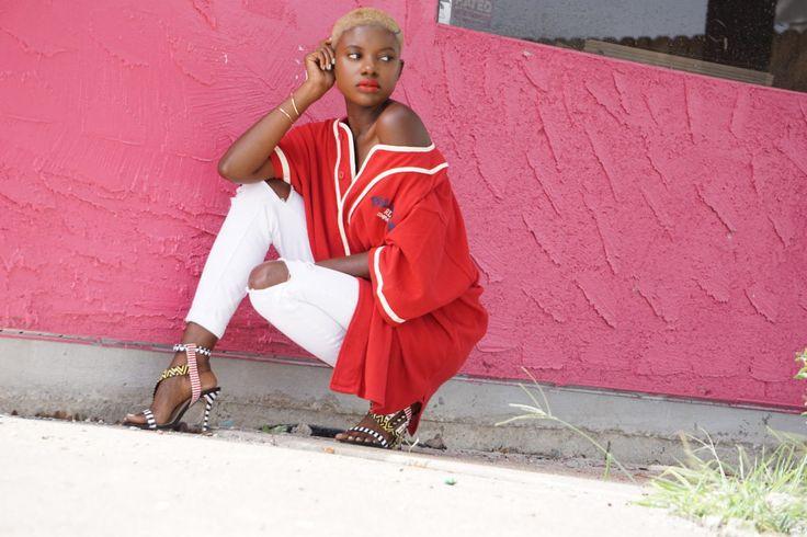 Sporty look, oversized top, polo sport, vintage sports wear, blonde buzz cut, blonde twa, blonde black girls
