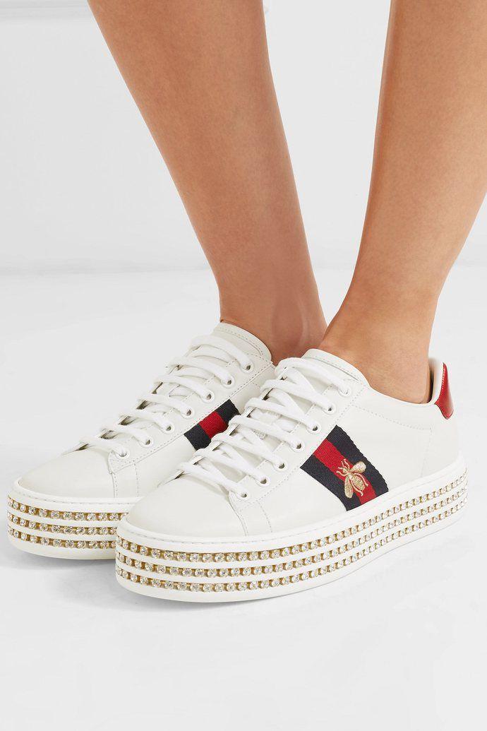 Gucci Ace embellished leather platform