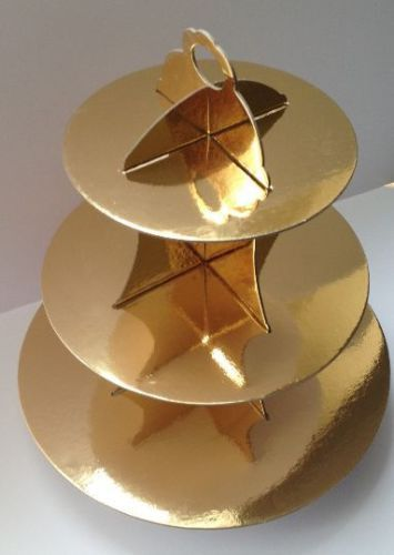 3 Tier Shiny Gold Cupcake Stand Cardboard Wedding Party