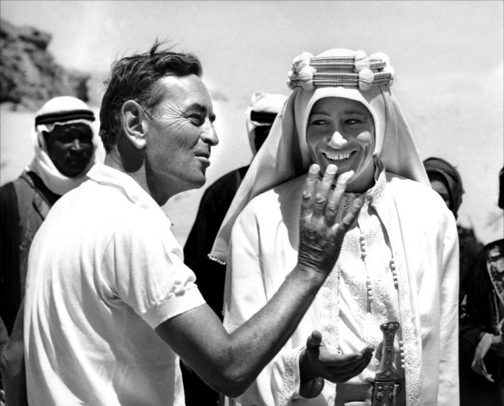 David Lean on the Lawrence of Arabia set with Peter O'toole.