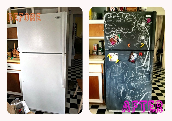 White fridge to black chalkboard with some chalkboard paint. The Patchwork Paisley.com DIYs for the home